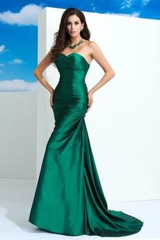 Ντραπέ Ελαστικό σατέν Αμάνικο Δαντέλα-επάνω Βραδινά φορέματα