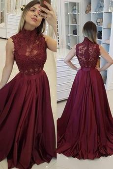 Γραμμή Α Φερμουάρ επάνω Ελαστικό σατέν Αμάνικο Μπάλα φορέματα