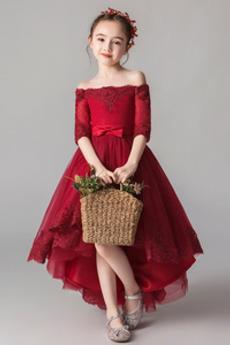 Ρετρό Ασύμμετρη Φερμουάρ επάνω Από τον ώμο Λουλούδι κορίτσι φορέματα
