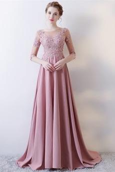 Δαντέλα επικάλυψης Φυσικό Ελαστικό σατέν Βραδινά φορέματα