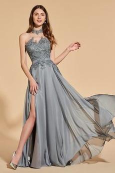 Ντραπέ Πλευρά σχισμή Γραμμή Α Δαντέλα επικάλυψης Μπάλα φορέματα
