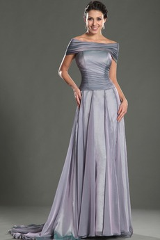 Πλισέ Μήκος πατωμάτων Μικροκαμωμένη Προσαρμοσμένες μανίκια Βραδινά φορέματα