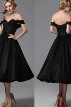Σατέν Το μήκος τσάι άτυπος Προσαρμοσμένες μανίκια Βραδινά φορέματα