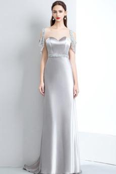 Μικροκαμωμένη Προσαρμοσμένες μανίκια Επίσημη Βραδινά φορέματα