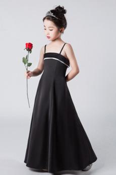 Σατέν Γραμμή Α Τιράντες σπαγγέτι Αμάνικο Λουλούδι κορίτσι φορέματα