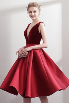 Φυσικό Βαθιά v-λαιμός Λαιμόκοψη V Χάνει Φθινόπωρο Μπάλα φορέματα