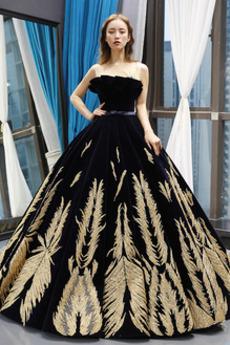 Μπάλα φορέματα Διαδοχικά Βολάν Γραμμή Α Αμάνικο Μήκος πατωμάτων Δαντέλα-επάνω
