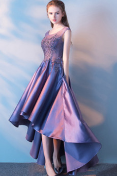 Επίσημη Αμάνικο Σατέν Φυσικό Ασύμμετρη Ασύμμετρη Μπάλα φορέματα