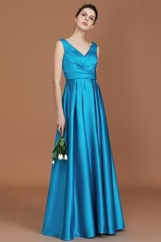 Λαιμόκοψη V εξώπλατο Οι πτυχωμένες μπούστο Παράνυμφος φορέματα