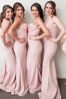 Μακρύ Τιράντες σπαγγέτι Αμάνικο Φυσικό Κομψό Παράνυμφος φορέματα