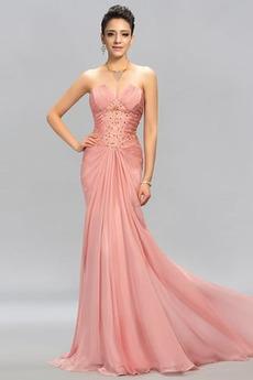 Άνοιξη αγαπημένος Φυσικό Οι πτυχωμένες μπούστο Βραδινά φορέματα