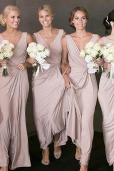 πιέτα Άνοιξη Επίσημη Λαιμόκοψη V Οι πτυχωμένες μπούστο Παράνυμφος φορέματα