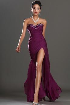Αμάνικο Λαμπερό Χαμηλή Μέση Μπροστινό Σκίσιμο Μπάλα φορέματα