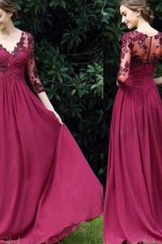 Δαντέλα επικάλυψης Κομψό Λαιμόκοψη V Ντραπέ Βραδινά φορέματα