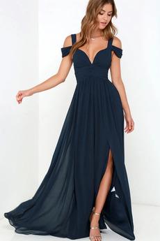 Γραμμή Α Αμάνικο Σιφόν Σέξι Προσαρμοσμένες μανίκια Βραδινά φορέματα