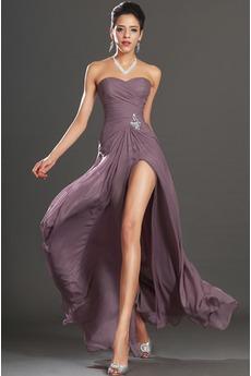 Πλισέ Αμάνικο Σιφόν Φυσικό Θήκη Στράπλες Μπάλα φορέματα