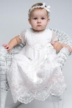Χάνει Επίσημη Κοντομάνικο Κόσμημα Τούλι Τονισμένα τόξο Φόρεμα Βάπτισης
