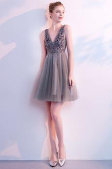εξώπλατο Λαιμόκοψη V Πολυτελές Φυσικό Ντραπέ Κοκτέιλ φορέματα