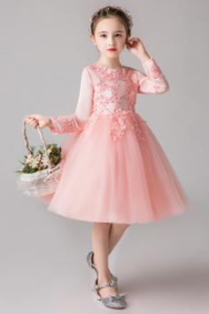Μέχρι το Γόνατο Μακρύ Μανίκι Δαντέλα Άνοιξη Λουλούδι κορίτσι φορέματα