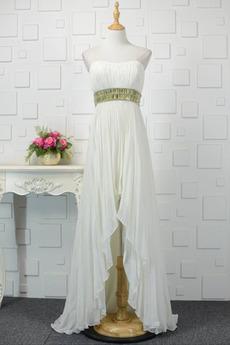 Καλοκαίρι Σιφόν Δαντέλα-επάνω Διακοσμημένες με χάντρες ζώνη Βραδινά φορέματα