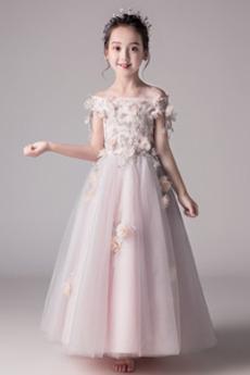 Λουλούδι Τονισμένα ροζέτα Κοντομάνικο Φερμουάρ επάνω Λουλούδι κορίτσι φορέματα