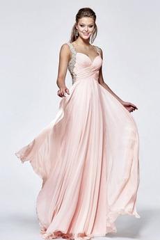 Ευρεία λουριά Πλισέ Μακρύ Αμάνικο Πολυτελές Μπάλα φορέματα