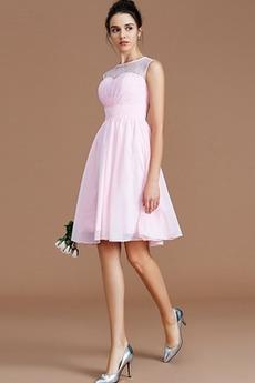 Φυσικό Δαντέλα επικάλυψης Μέχρι το Γόνατο Παράνυμφος φορέματα