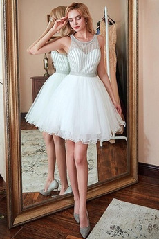 Αμάνικο Διακοσμημένες με χάντρες ζώνη Φυσικό Κοκτέιλ φορέματα