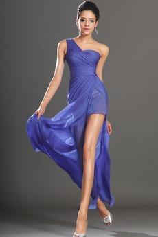 Μπροστινό Σκίσιμο Ένας Ώμος Φυσικό Μηρό-υψηλές σχισμή Μπάλα φορέματα
