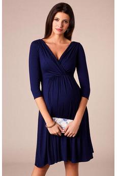 Βραδινά φορέματα Κοντομάνικο Άνοιξη Μέση αυτοκρατορία Λαιμόκοψη V απλός