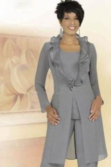 Μακρύ Μανίκι Κοντομάνικο Σιφόν Μέχρι τον αστράγαλο Παντελόνι κοστούμι φόρεμα