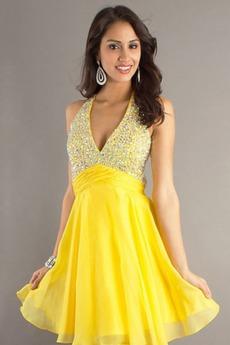 Κόσμημα τονισμένο μπούστο Βαθιά v-λαιμός Μπάλα φορέματα