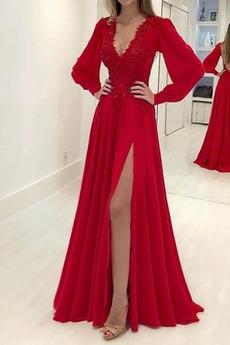 Φυσικό Φανάρι Λαιμόκοψη V Μακρύ Μανίκι Μπροστινό Σκίσιμο Βραδινά φορέματα