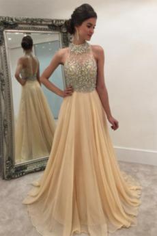 Κόσμημα τονισμένο μπούστο Άνοιξη Σιφόν Λάμψη Βραδινά φορέματα
