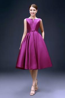 Επίσημη Σατέν Χάνει φύλλο Αμάνικο Μέχρι το Γόνατο Κοκτέιλ φορέματα