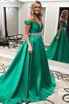 Σατέν Ντραπέ Ορθογώνιο Χειμώνας Πολυτελές Μπάλα φορέματα