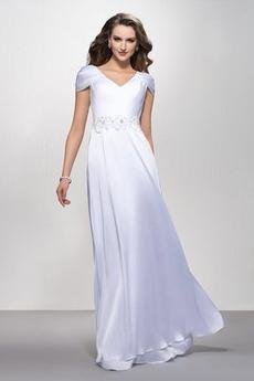 Φερμουάρ επάνω Προσαρμοσμένες μανίκια Λαιμόκοψη V Βραδινά φορέματα