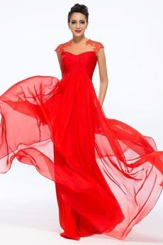 Γραμμή Α Οι πτυχωμένες μπούστο Κόσμημα Σιφόν Βραδινά φορέματα