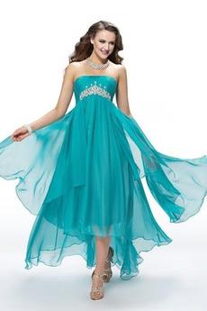 Οι πτυχωμένες μπούστο Ασύμμετρη εξώπλατο Μπάλα φορέματα