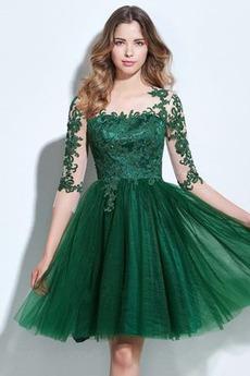 Τούλι Κομψό Φυσικό Ντραπέ Δαντέλα επικάλυψης Κοκτέιλ φορέματα