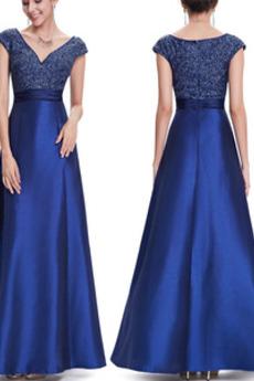 Άνοιξη Κοντομάνικο Λαιμόκοψη V Φερμουάρ επάνω Βραδινά φορέματα
