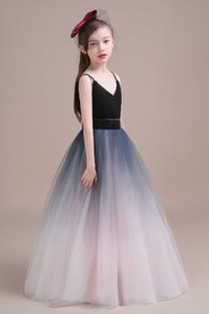 Οι πτυχωμένες μπούστο Φυσικό Γραμμή Α Λαιμόκοψη V Λουλούδι κορίτσι φορέματα