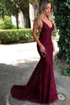 Μακρύ Λαιμόκοψη V Αμάνικο Φυσικό Δαντέλα Βραδινά φορέματα