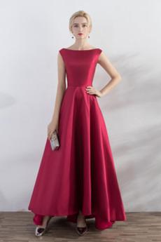 Αμάνικο Κομψό Άνοιξη Φυσικό Σατέν Ντραπέ Βραδινά φορέματα