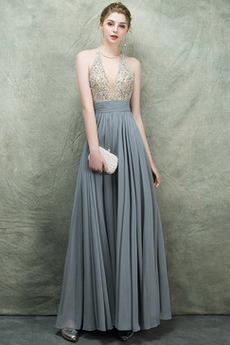 Αμάνικο Γραμμή Α Πολυτελές Σιφόν Κόσμημα τονισμένο μπούστο Μπάλα φορέματα