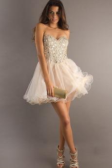 Φόρεμα μπάλα Αμάνικο Πρησμένα Οργάντζα Κόσμημα τονισμένο μπούστο Κοκτέιλ φορέματα