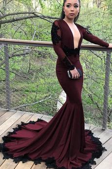 Βραδινά φορέματα Μακρύ Μακρά Κοντομάνικο Λαιμόκοψη V εξώπλατο Μακρύ Μανίκι