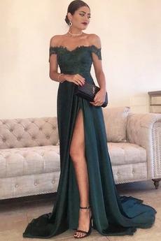 Ελαστικό σατέν Τραίνο σκουπισμάτων Σέξι Καλοκαίρι Βραδινά φορέματα