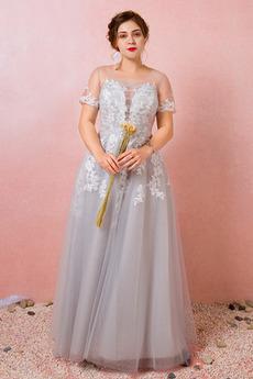 Κομψό Κοντομάνικο Ψευδαίσθηση Δαντέλα επικάλυψης Παράνυμφος φορέματα