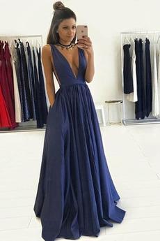 Γραμμή Α Ντραπέ Χάνει Λαιμόκοψη V Σατέν Σέξι Μπάλα φορέματα